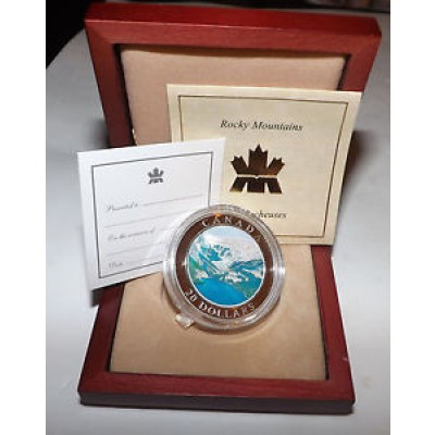 2003 Zilveren gekleurde munt Canada Natural Wonders - Rocky Mountains Box