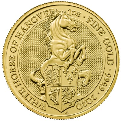 1 Troy ounce gouden munt Queens Beasts White Horse 2020