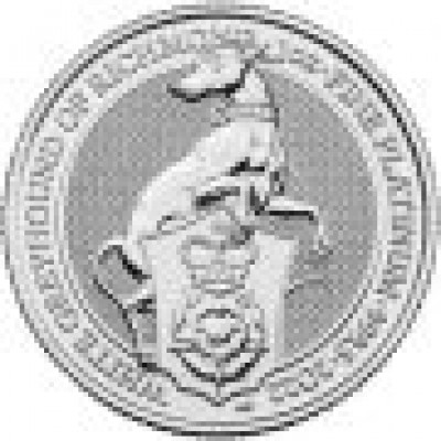 1 Troy ounce platina munt Queens Beasts White Greyhound 2022