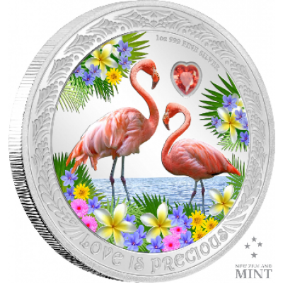 1 troy ounce zilveren munt Love is Precious - Flamingo's 2021