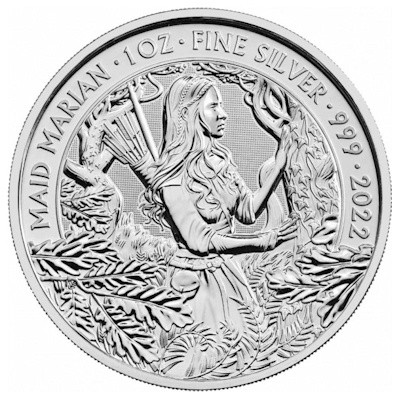 1 troy ounce zilveren munt myths and legends Maid Marian 2022
