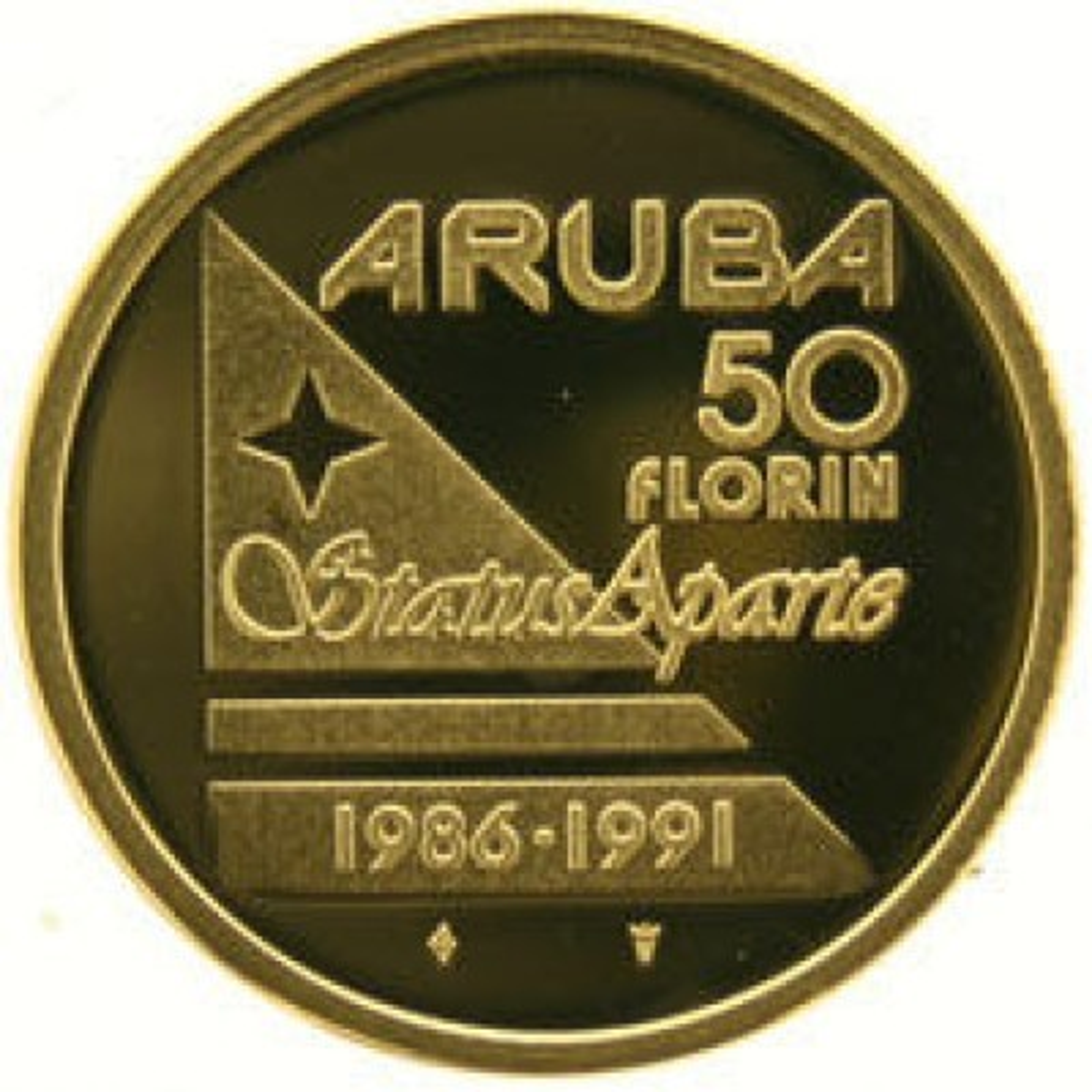 Aruba 50 florin Goud 1991 Status Aparte 1986 - 1991