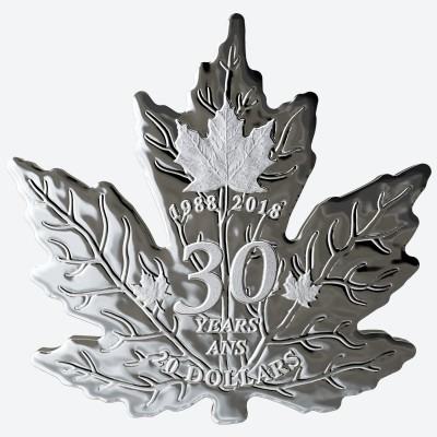 Cut-out 1 Troy ounce silver Canadian Maple Leaf 30 Years