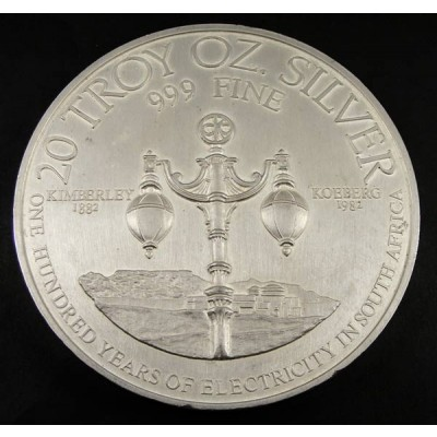 20 Troy ounce zilveren munt 100 years electricity South Africa