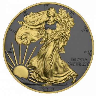 1 Troy ounce zilveren munt Golden Ring - Silver Eagle 2019