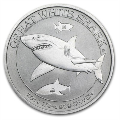 1/2 Troy ounce Great White shark zilveren munt
