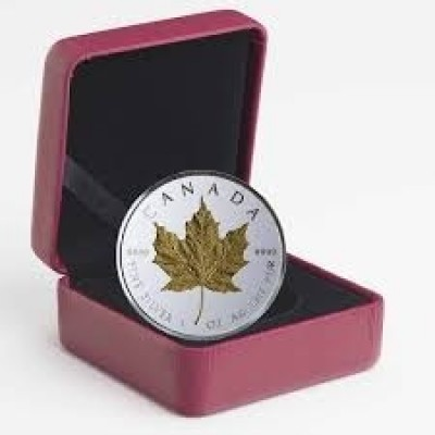 1 Troy ounce zilveren munt Maple Leaf 40th Anniversary verguld 2019