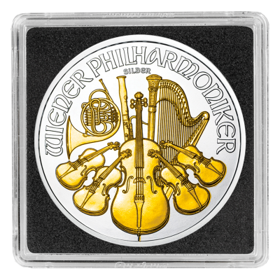 1 Troy ounce zilveren munt Philharmoniker 2017 Gold Plated