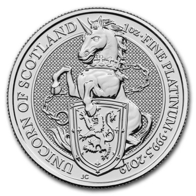 1 Troy ounce platina munt Queens Beasts Unicorn 2019