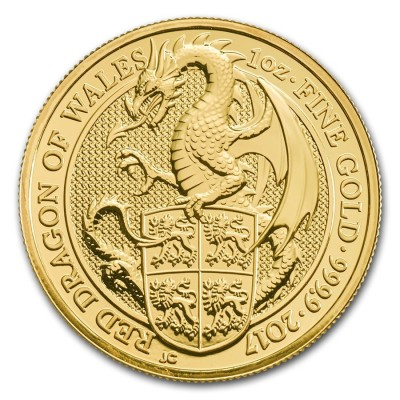 1 Troy ounce goud Queens Beasts 2017 The Dragon