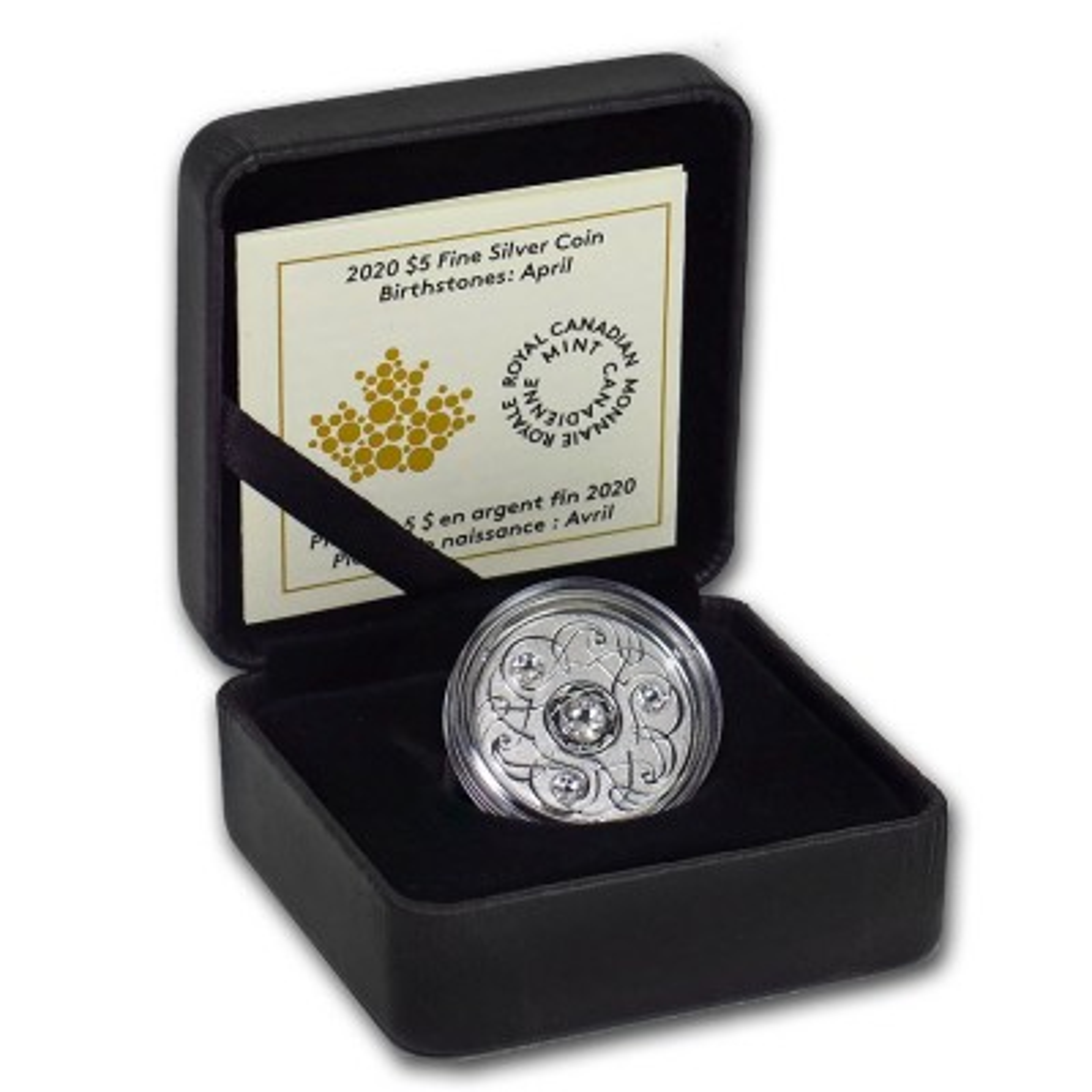 Zilveren munt April Birthstone Swarovski 2020 - doos