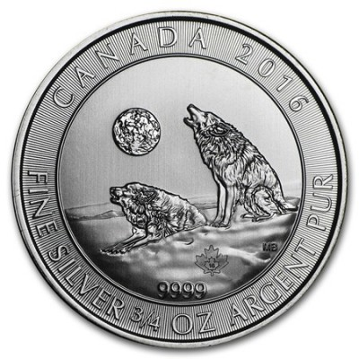 3/4 Troy ounce silver coin Howling Wolves