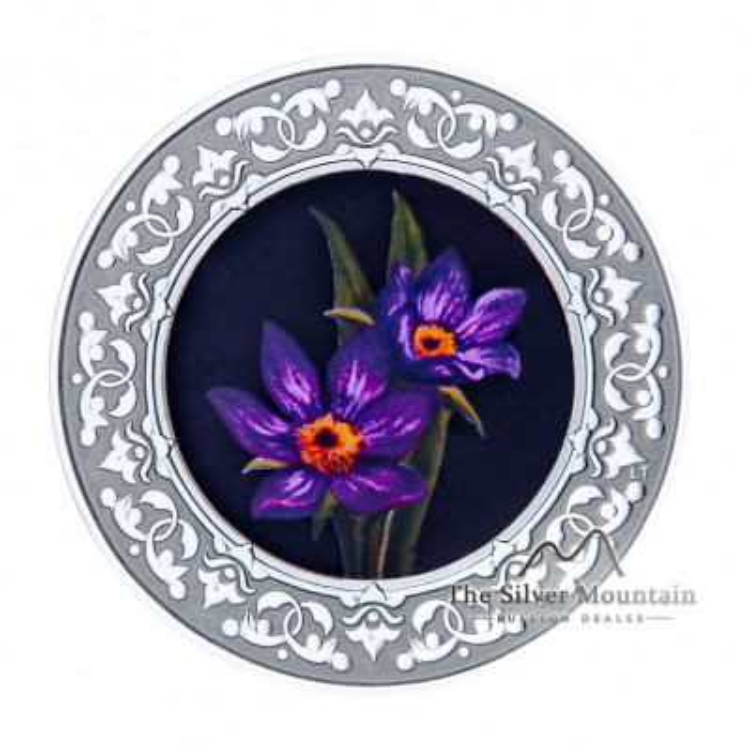 Zilveren munt Bloemenemblemen van Canada Manitoba Prairie Crocus