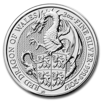 2 Troy ounce zilveren Queens Beast 2017 Dragon