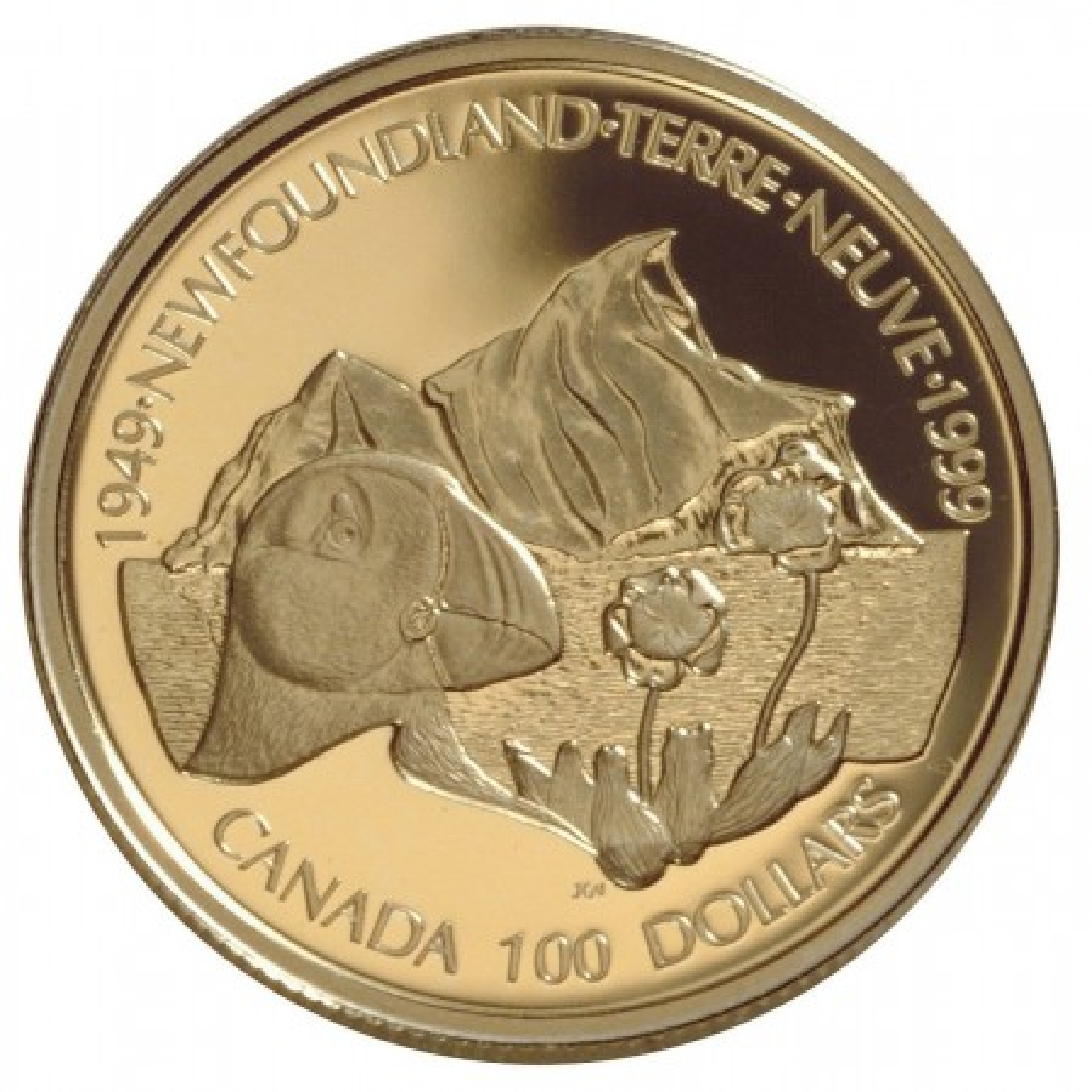 "$100 Gouden munt Canada ""50th Anniversary of Newfoundland Unity"""