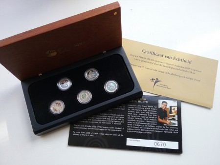 5-Delige set Platinum 1/10 troy ounce munten set - Discover Australia - Proof