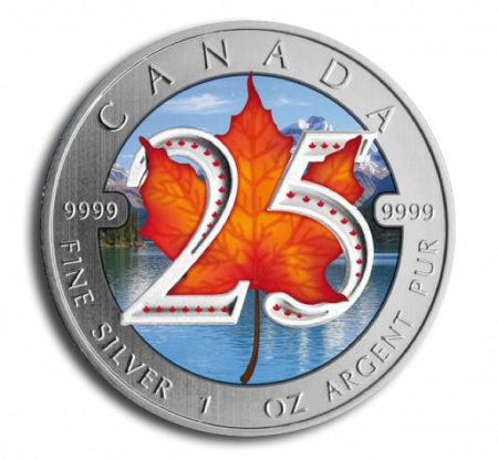 Maple Leaf zilver jubileum munt in kleur