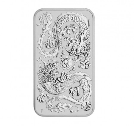 1 Troy ounce zilveren muntbaar Rectangular Dragon 2020 - box