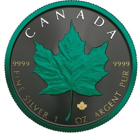 1 Troy ounce zilveren munt Maple Leaf Space green 2020