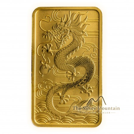 1 Troy ounce gouden munt baar Rectangular Dragon 2018