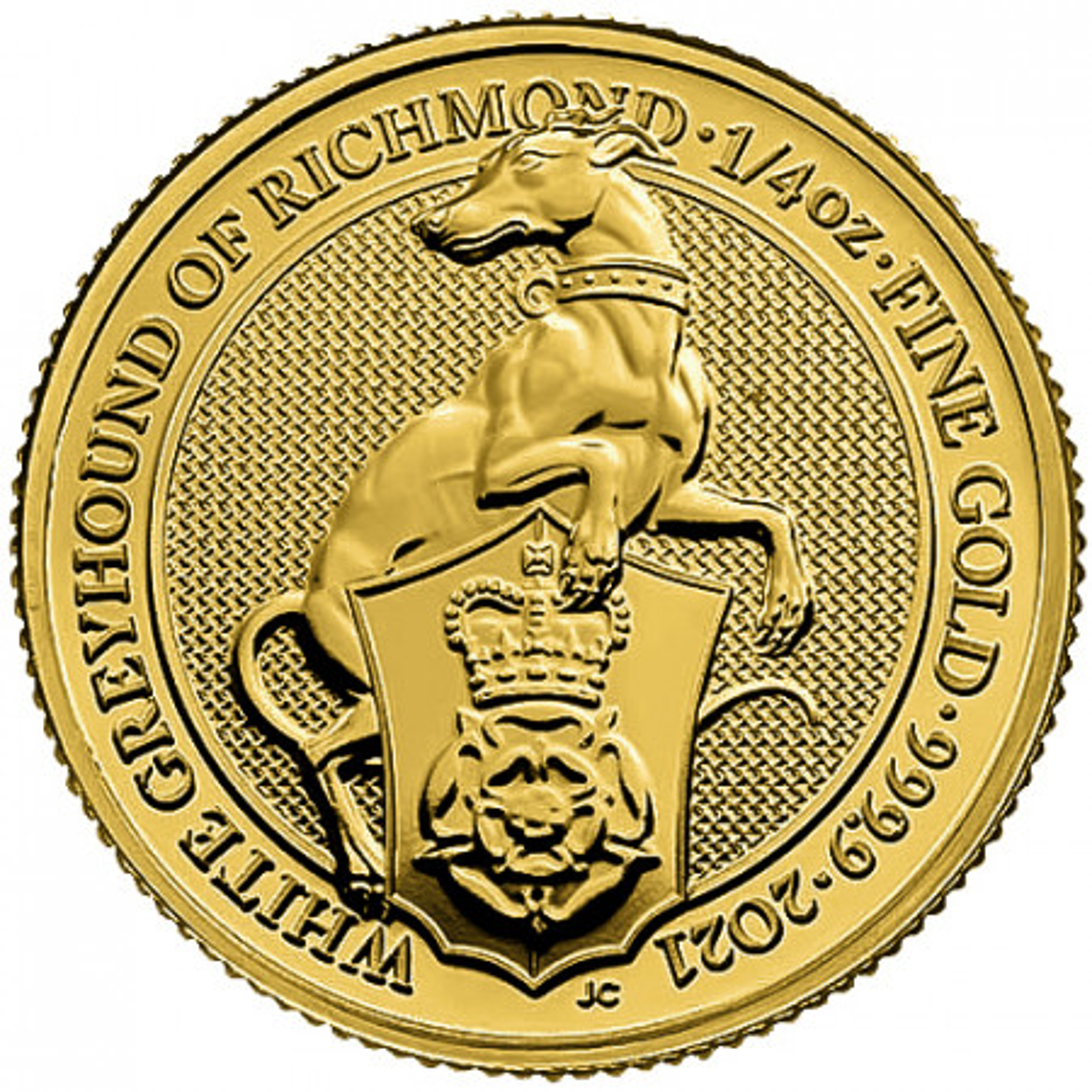 1 oz gouden munt Queens Beasts White Greyhound 2021