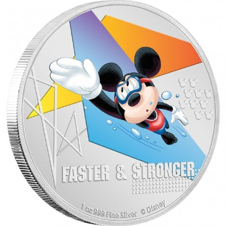 1 troy ounce zilveren munt Disney Mickey Mouse - Faster and Stronger 2020 Proof