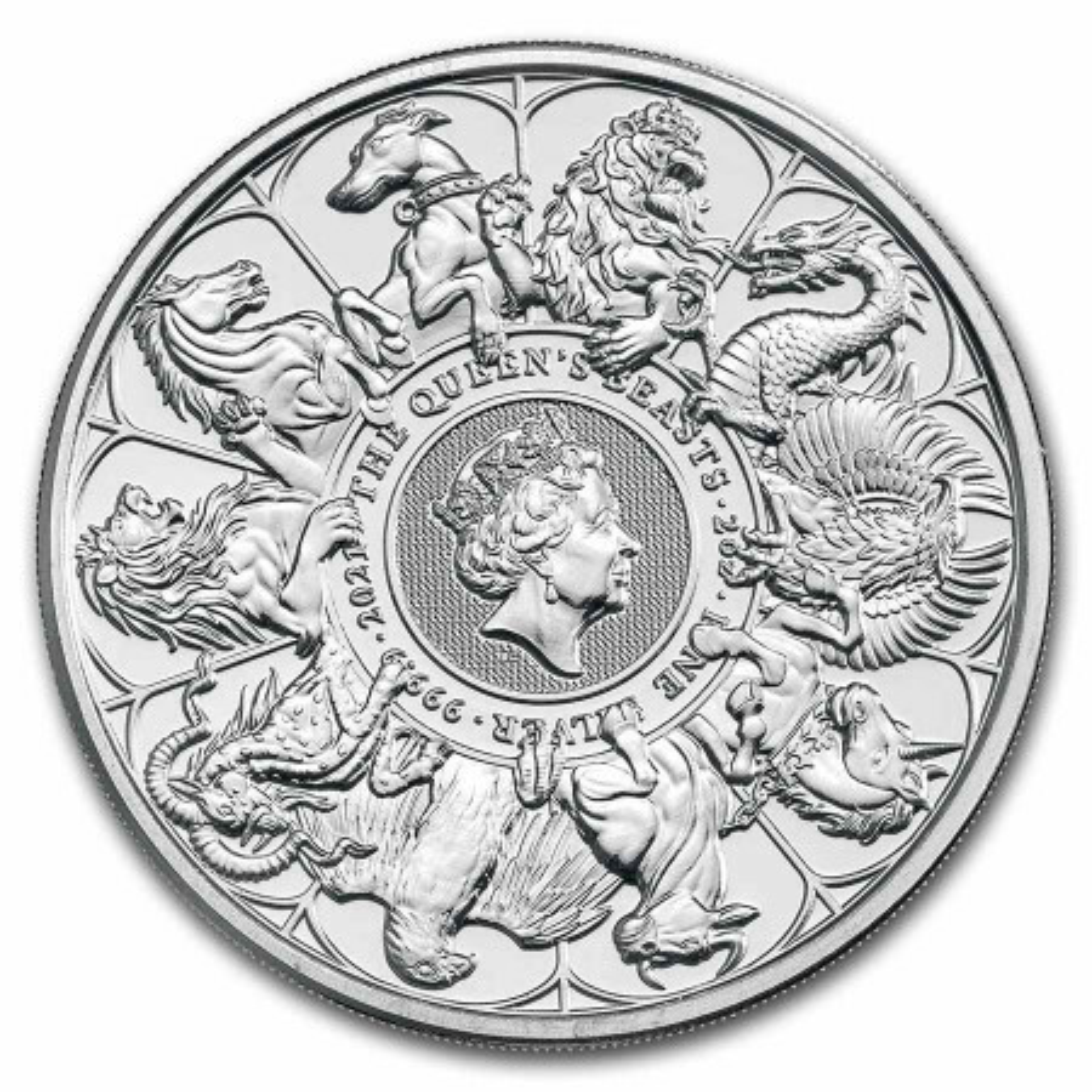 2 Troy ounce zilveren munt Queens Beasts completer 2021