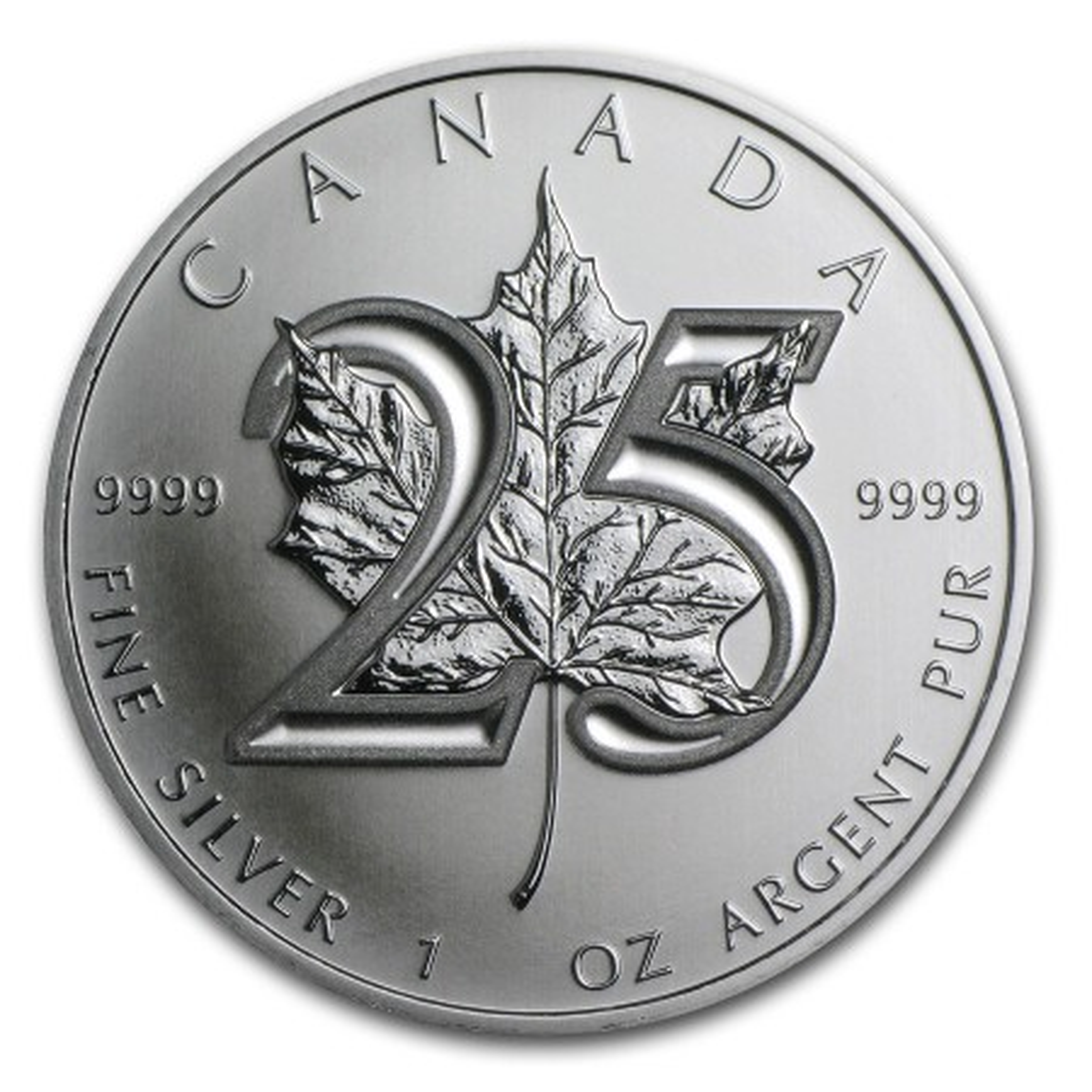 Maple Leaf zilver jubileum munt 25 jaar