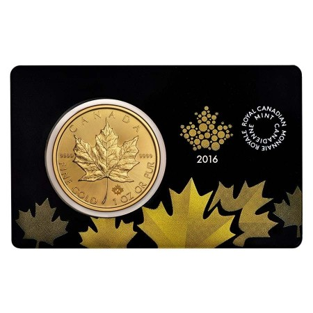 1 troy ounce gouden Maple Leaf munt Assay Card 2016