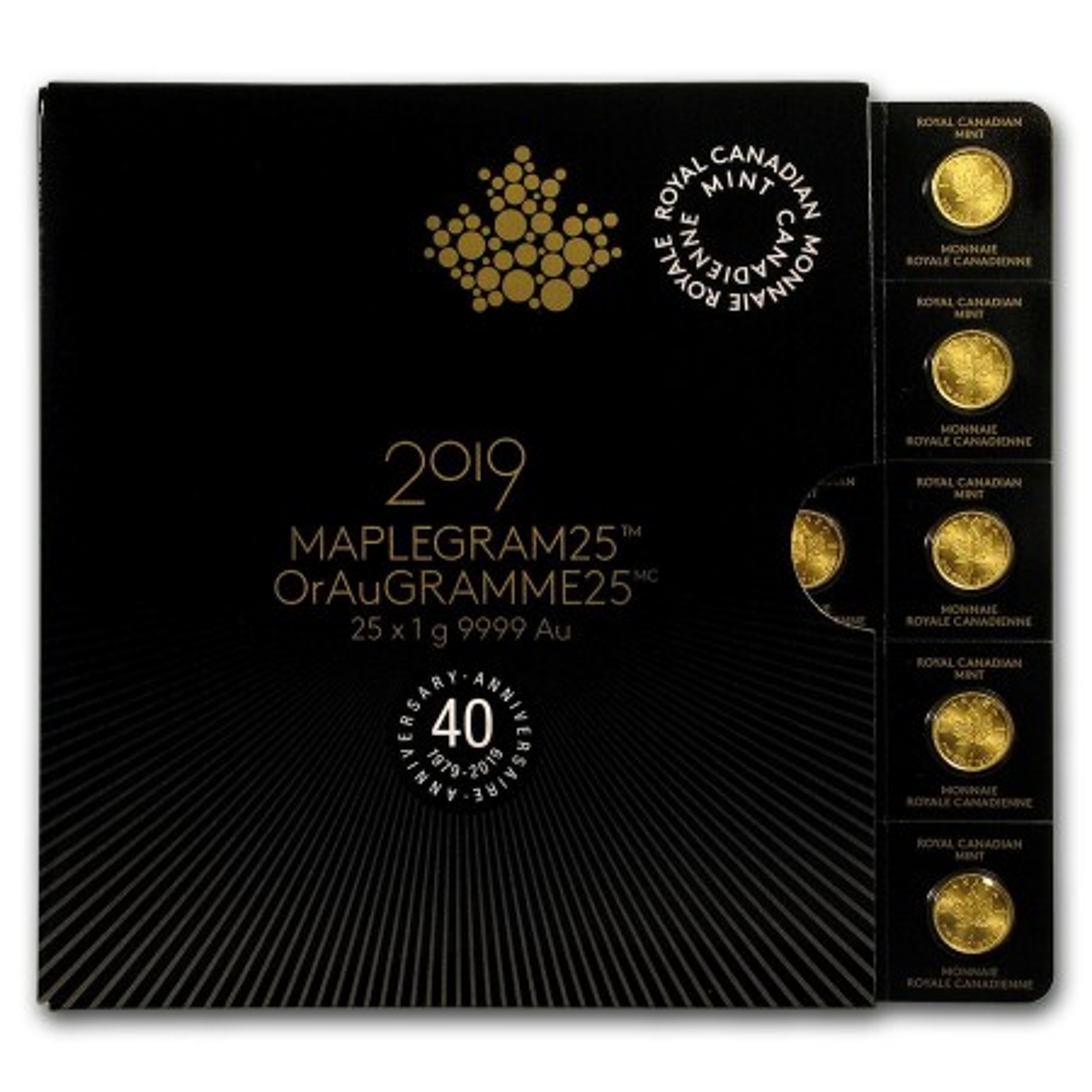 25x 1 gram gouden Maple Leaf munten