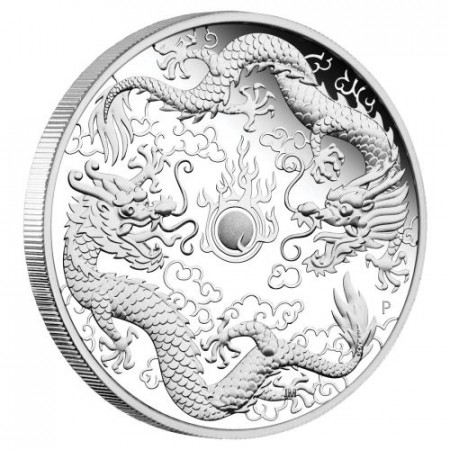 1 Troy ounce zilveren munt Double Dragon Proof 2020