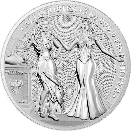 5 Troy ounce zilveren munt Germania en Italia 2020