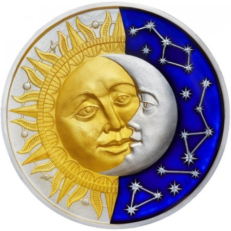 2 Troy ounce zilveren munt Sun and Moon
