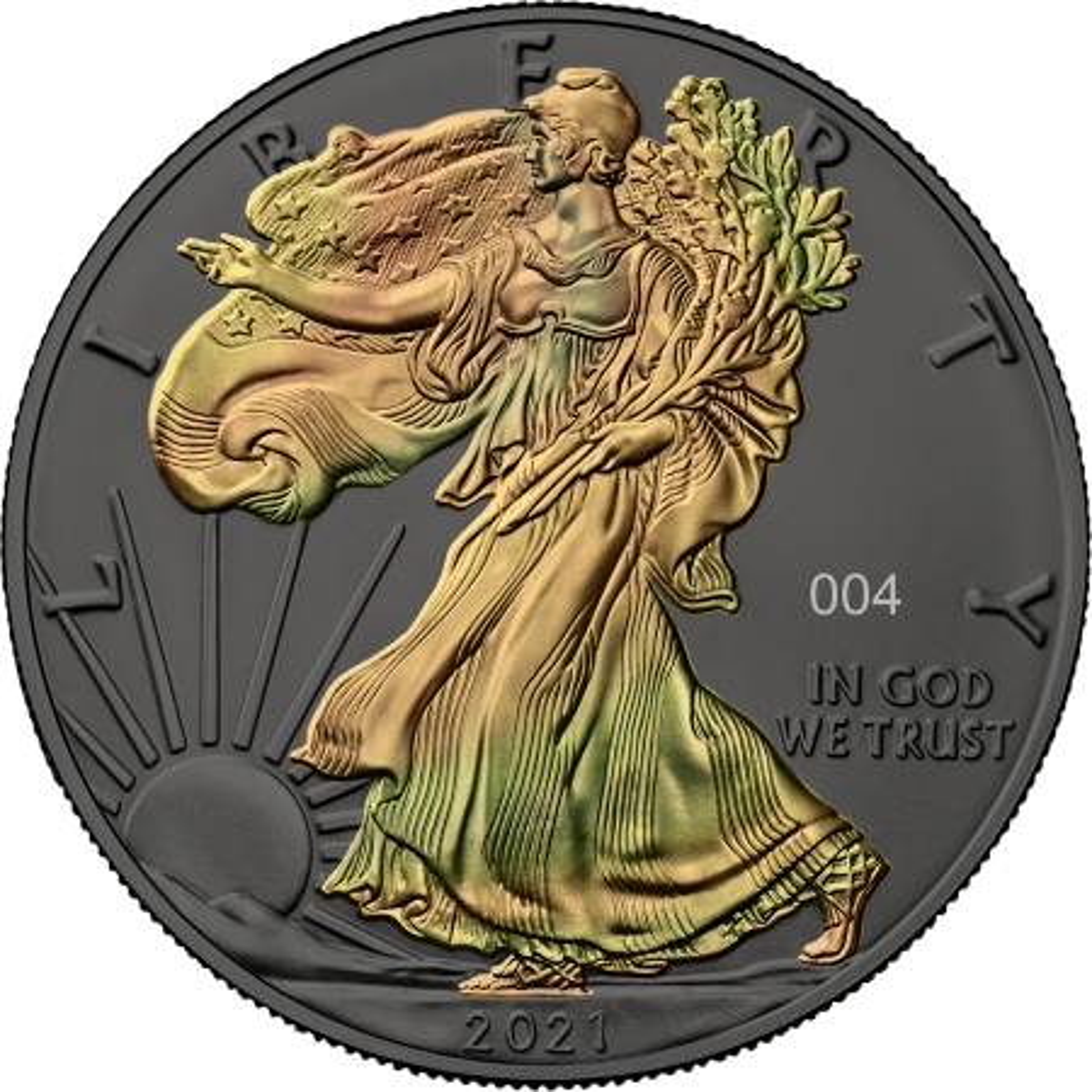1 troy ounce zilveren munt gouden holo serie American Eagle 2021