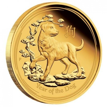 1/4 ounce goud lunar munt proof 2018