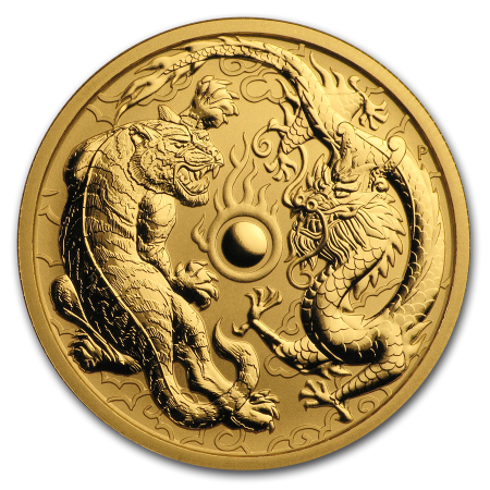 1 Troy ounce Gouden munt Dragon and Tiger 2019