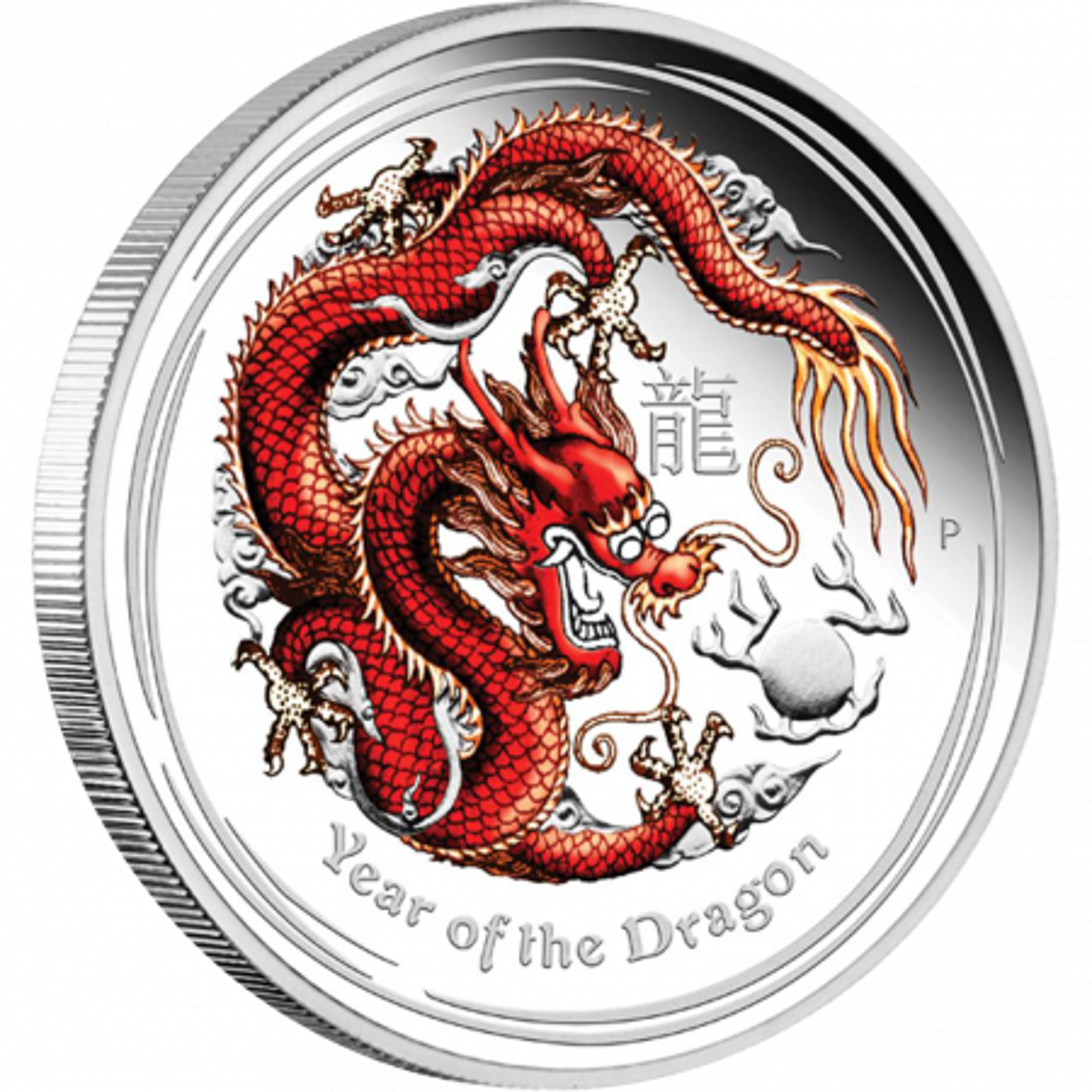 Lunar zilver kilo munt in kleur