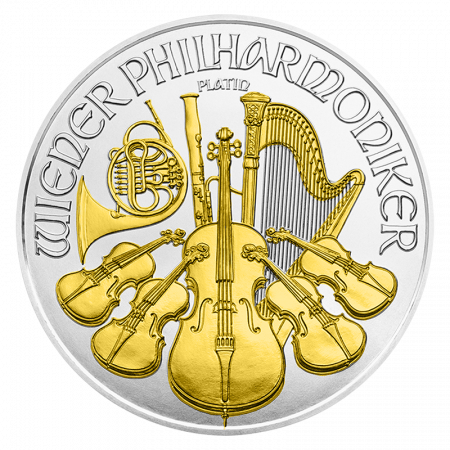 1 Troy ounce zilveren munt Philharmoniker 2016 Gold Plated