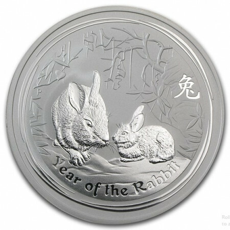2 Troy ounce zilver Lunar munt 2011 - year of the rabbit