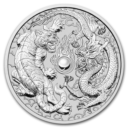 1 Troy ounce zilveren munt Dragon and Tiger 2018