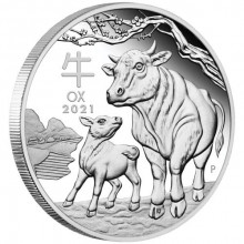 1/2 troy ounce zilveren munt Lunar 2021 Proof