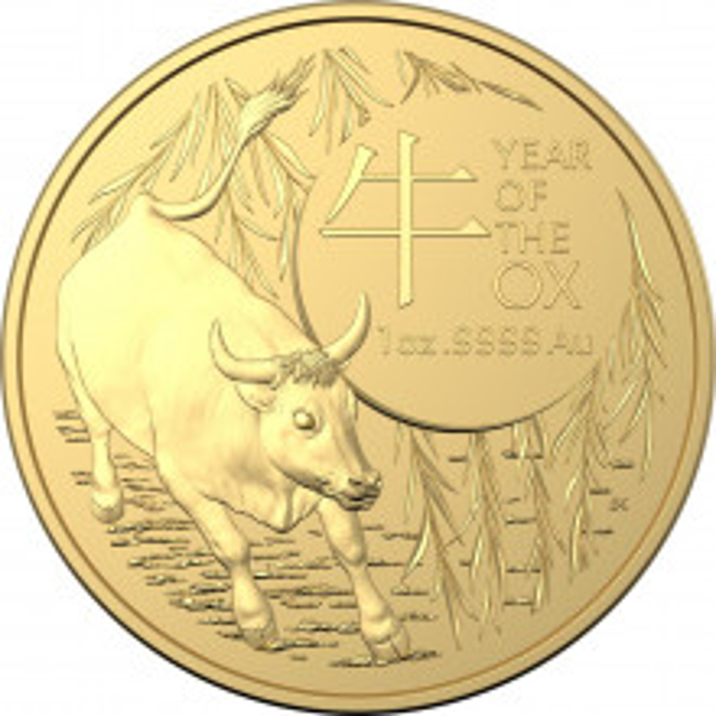 1 troy ounce gouden munt Lunar RAM serie Os 2021