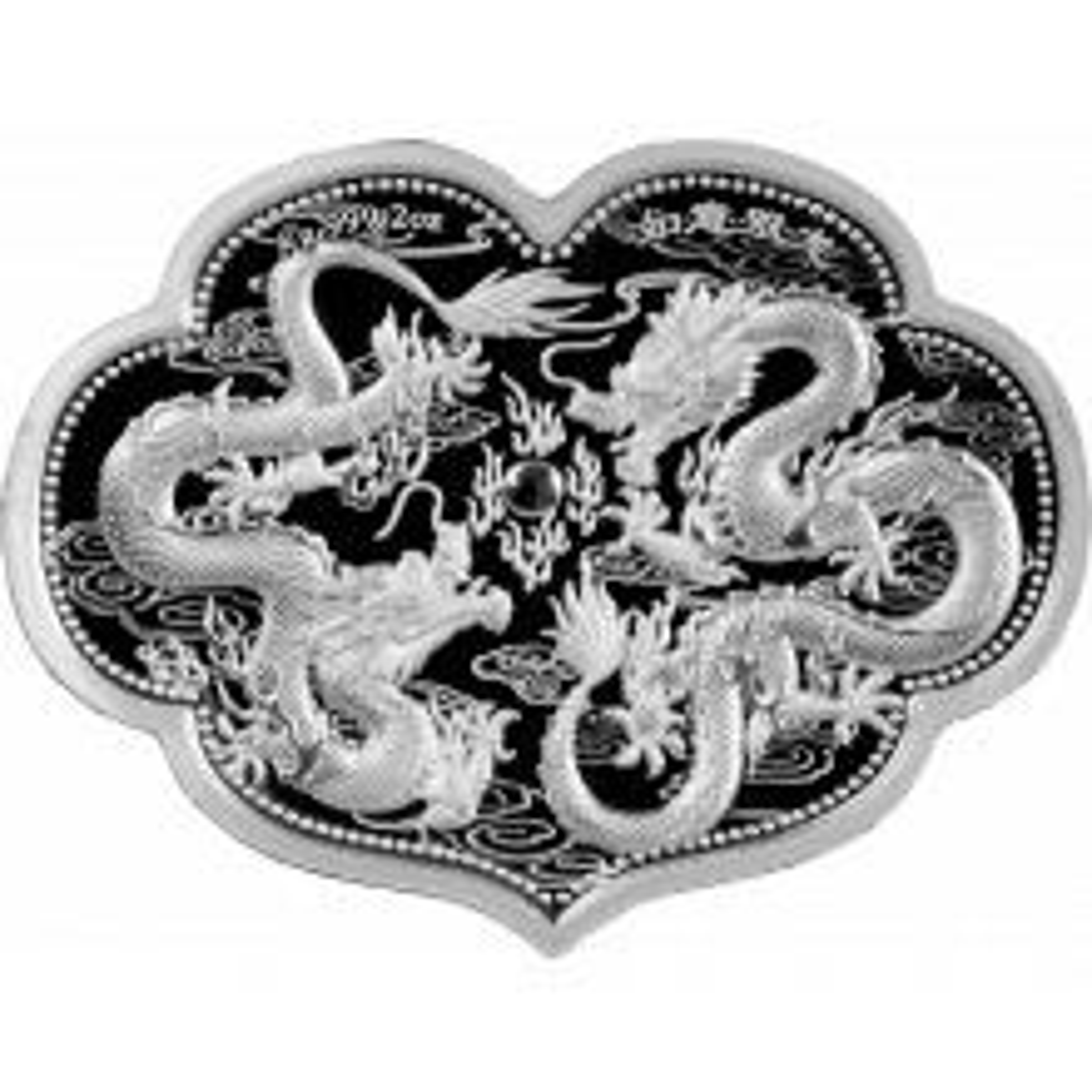 2 troy ounce zilveren munt wenselijke dubbele draak 2021