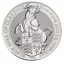 10 Troy ounce zilveren munt Queens Beasts Black Bull 2019
