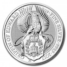 2 troy ounce zilveren Queens Beast 2017 Griffin