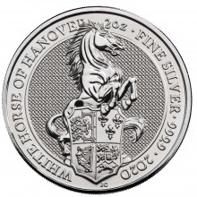 2 Troy ounce zilveren munt Queens Beasts White Horse