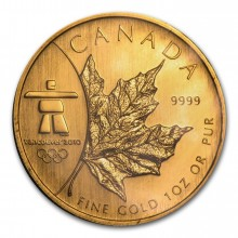 1 Troy ounce gouden munt Maple Leaf Vancouver Olympic 2008