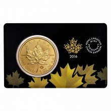 1 troy ounce gouden Maple Leaf 2015 in Assay Card
