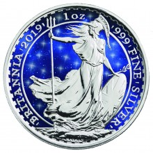 1 Troy ounce zilveren munt Glowing Galaxy Britannia 2019