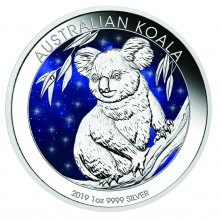 1 Troy ounce zilveren munt Glowing Galaxy Koala 2019